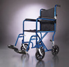 "Excel Transport Wheelchair w/ Permanent Arms and Detachable Footrests (19"", Blue)"