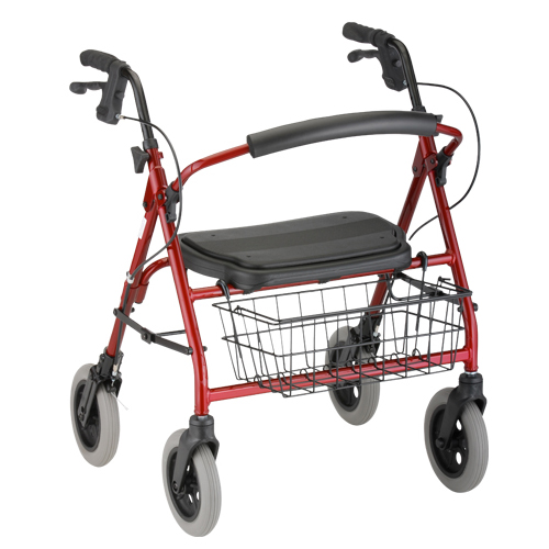 Nova Medical Mini Mack Heavy Duty Rolling Walker Red