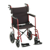 "Nova Medical 19"" Lightweight Transport Chair with Hand Brakes, 12"" Rear Wheels Red"