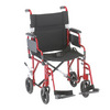 "Nova Medical 19"" Lightweight Transport Chair with Detachable Desk Arms Red"