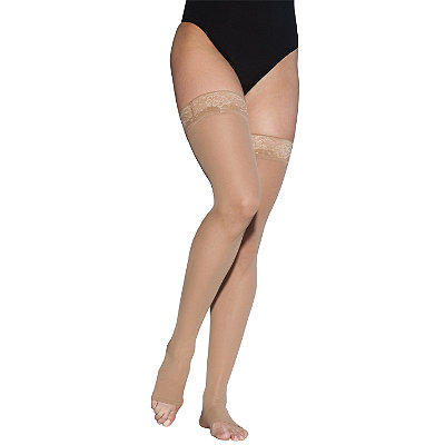 Sigvaris EverSheer Thigh Hi Compression Hosiery w/ Grip Top (Open Toe)