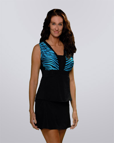 Slim Perfect Two-Piece Turquoise Zebra Slimming Swimsuit
