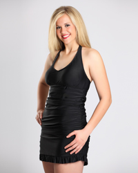 Slim Perfect Black Ruched Halter Slimming Swimdress