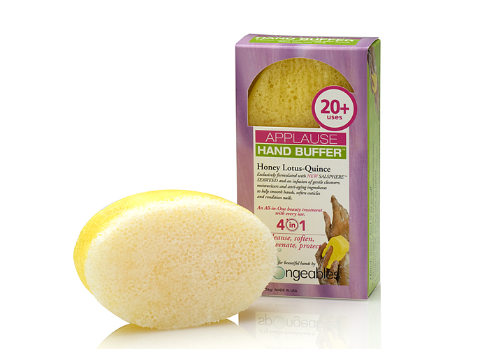 Spongeables Applause Hand Buffer Cleanser-Infused Sponge (Honey Lotus Quince) - 20 Plus Uses