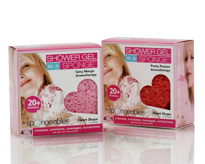 Spongeables For Lovers Heart Body Wash-Infused Sponge - (2 Pack - Spicy Mango & Peony Passion) - 40 Plus Showers
