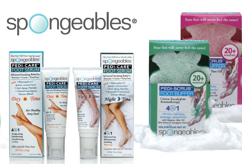 Spongeables Deluxe Foot Care Kit (w/2 Sponges & 2 Creams) - 40 Plus Uses