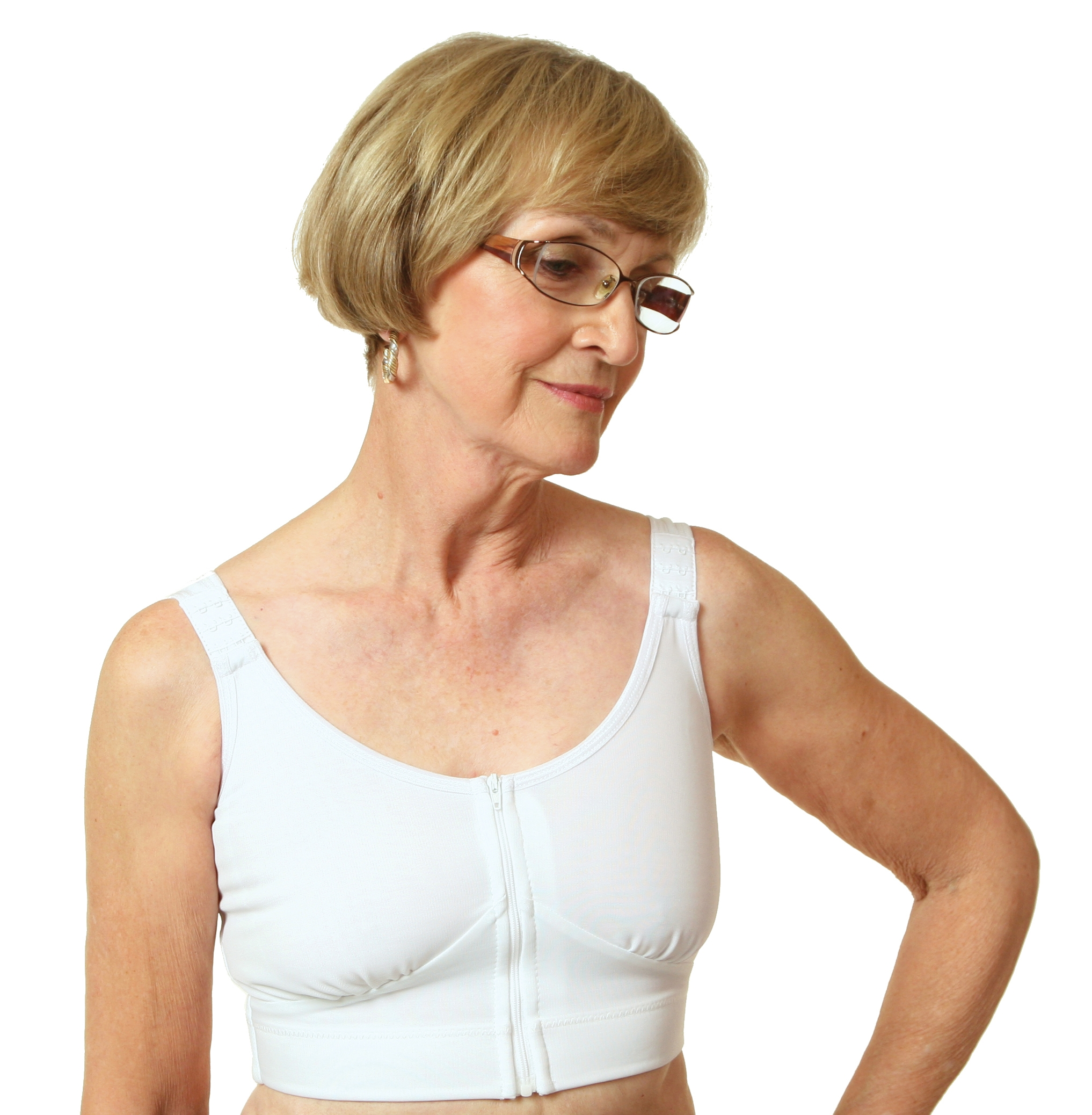 Wear Ease Post-Mastectomy, Breast Augmentation/Reduction Compression Bra (w/ 2 Removable Drain Tube Pouches & 1 Breast Form)