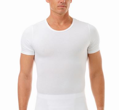 Men's Compression Slimming Crew Neck T-Shirt Men's Ultimate Chest Binder Shirt (Extreme Compression)