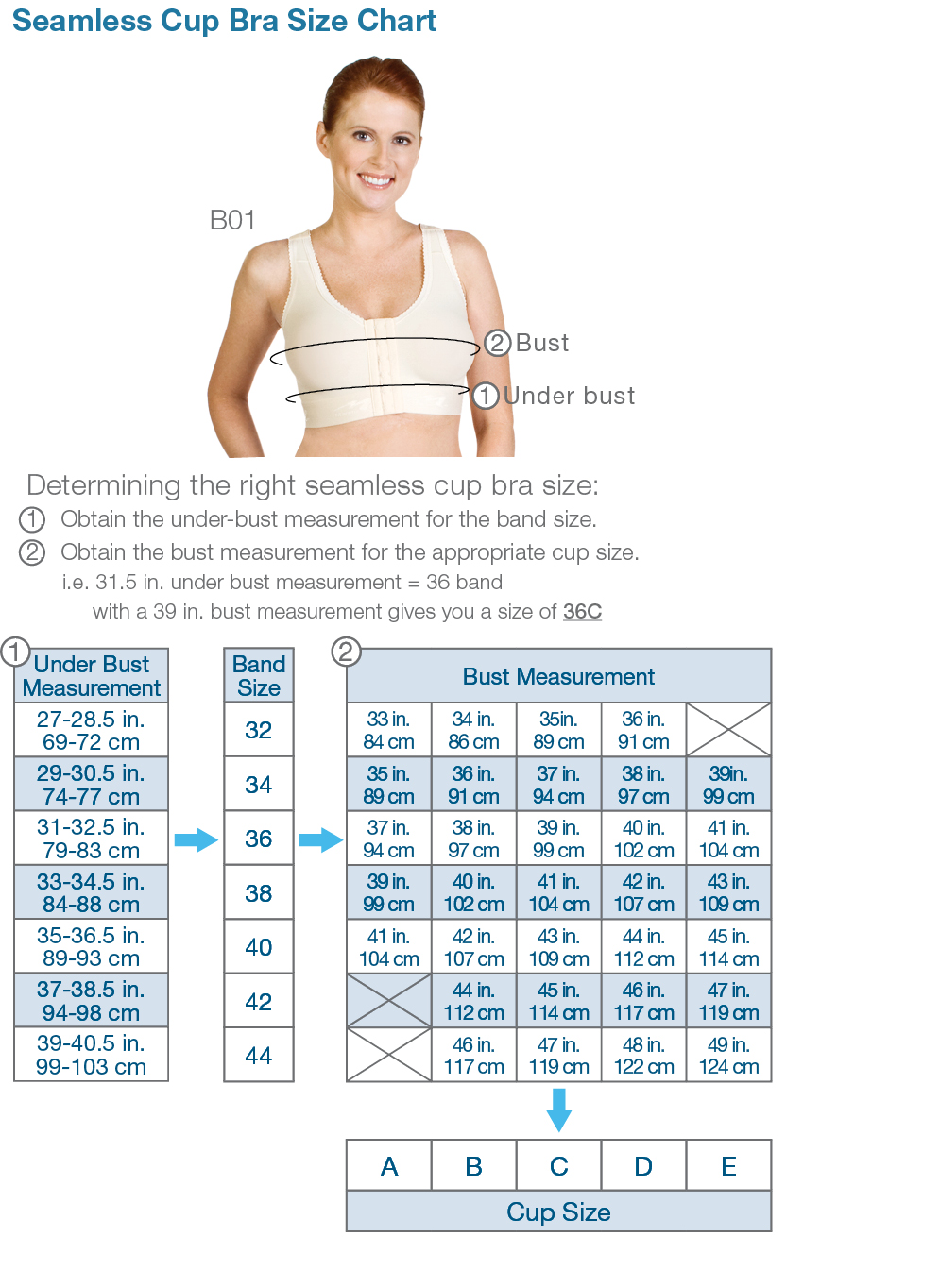 Using your current bra size as a starting point, refer to the chart below to refine your fit. Bra sizes that share a row are called sister sizes. Move across the chart if neither your cup or band fit, and move up/down the chart if your cups don't fit.