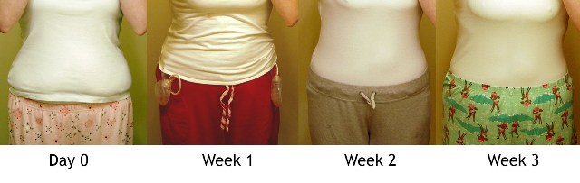 Day 0, Week 1, 2 & 3 (front, clothed)