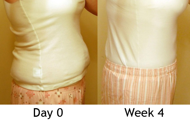 Day 0 & 4 Weeks (side, clothed)