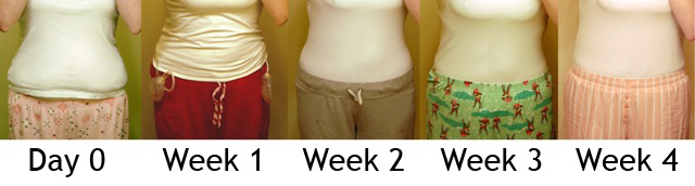 Day 0, Week 1, 2, 3 & 4 (front, clothed)