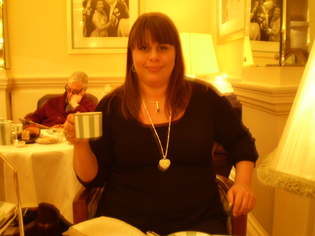 me pre surgery afternoon tea at claridges in London on holiday