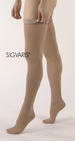 Sigvaris Unisex Thigh High Natural Rubber Compression Stockings w/ Beaded Grip Top (Open Toe)