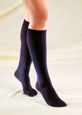 Truform Ladies Trouser Knee-High Support Socks - Cable Chain-Link Pattern (Closed Toe) - 1975