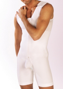 Male Body Plastic Surgery Compression Garment Mid-Thigh - Stage One w/ Zipper (Marena)