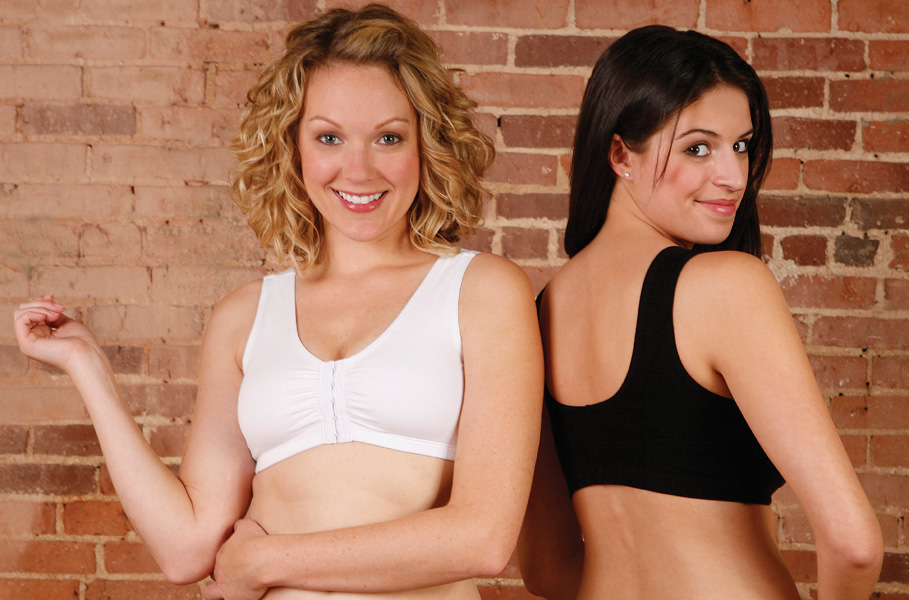 Breast Augmentation/Reduction Cotton Sports Bra w/Front Hook & Eye (Contemporary Design)
