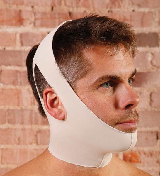 Two Strap Facial Surgery Compression Garment w/Ear Openings (Contemporary Design)