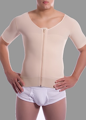 Male Short Sleeve Abdominal Cosmetic Surgery Compression Vest w/Zipper- Stage 1