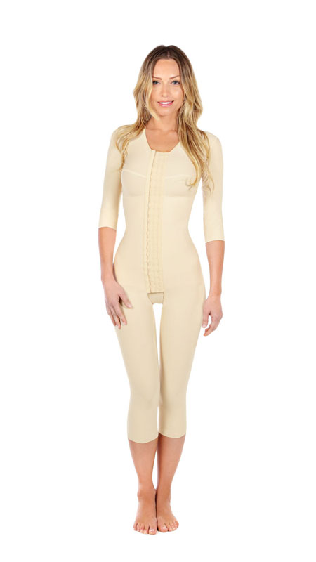 Full Body Cosmetic Surgery Compression Garment - Medium Length (w/ Bra & Armsleeve) (Marena)- No Lace on the Legs